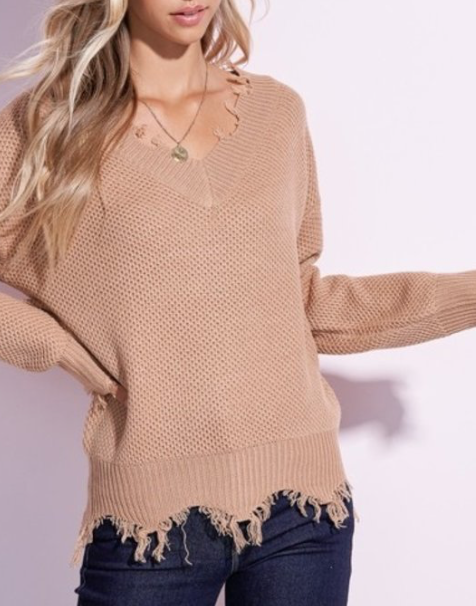 Distressed Knit ~ Taupe