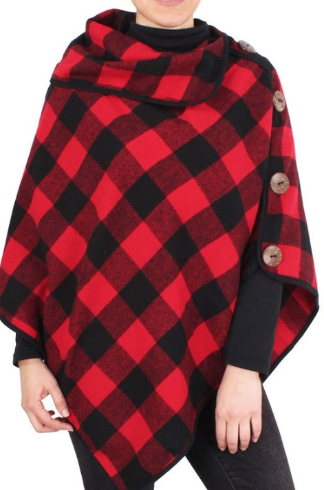 Button Down Poncho ~ red