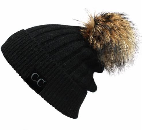 Fur Pom Beanie ~ black