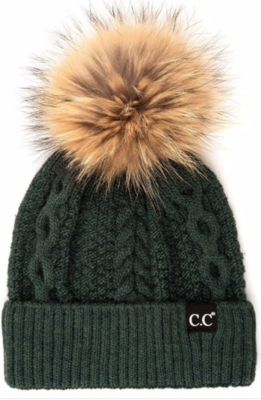 Fur Pom Beanie ~ forest green