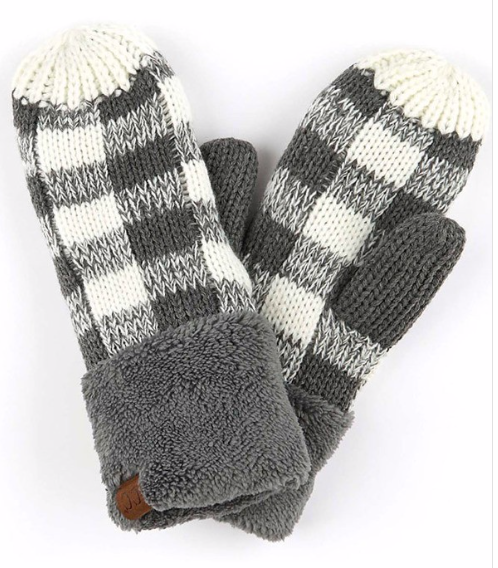 Cozy Mitts ~ charcoal   white