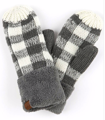 Cozy Mitts ~ charcoal | white