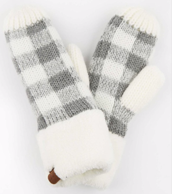 Cozy Mitts ~ ivory | grey