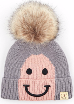 Kids Happy Toque ~ smokey grey