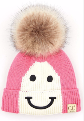 Kids Happy Toque ~ candy pink