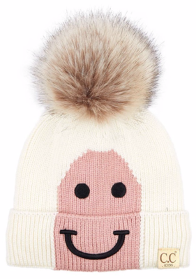 Kids Happy Toque ~ soft ivory