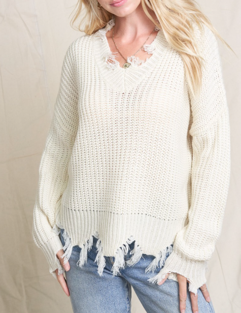 Distressed Knit ~ Ivory