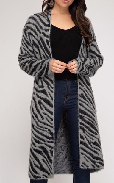 Grey Zebra Blanket Cardi