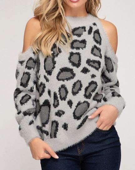 Cold Shoulder Leopard ~ grey