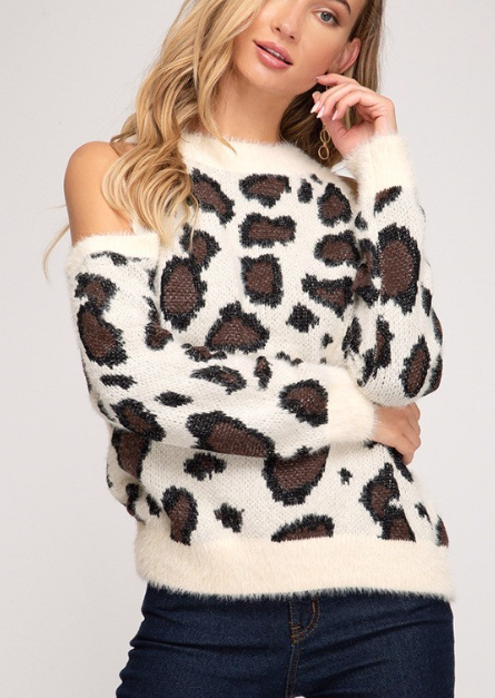 Cold Shoulder Leopard ~ ivory