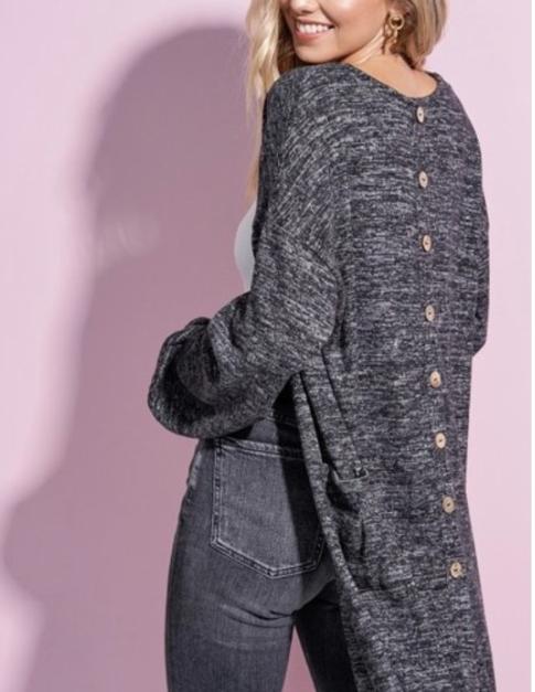 Button Back Cardi ~ heather black