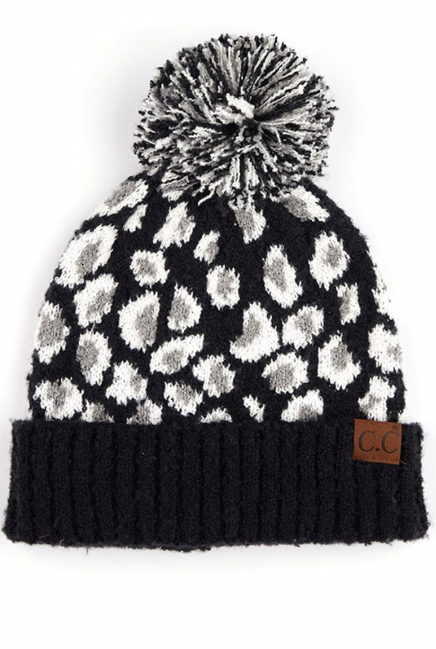 Jacquard knit beanie ~ black