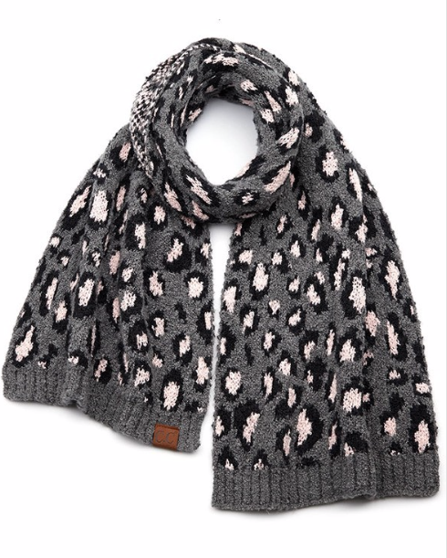 Leopard oblong scarf ~ grey