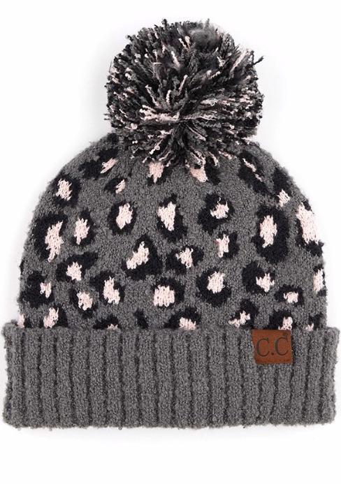 Jacquard knit beanie ~ grey