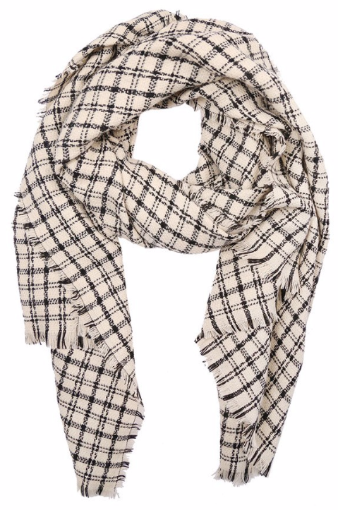 Cream Plaid Blanket Scarf