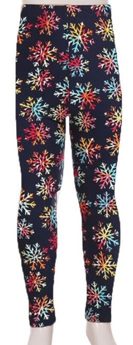 Kids Leggings ~ rainbow snowflakes