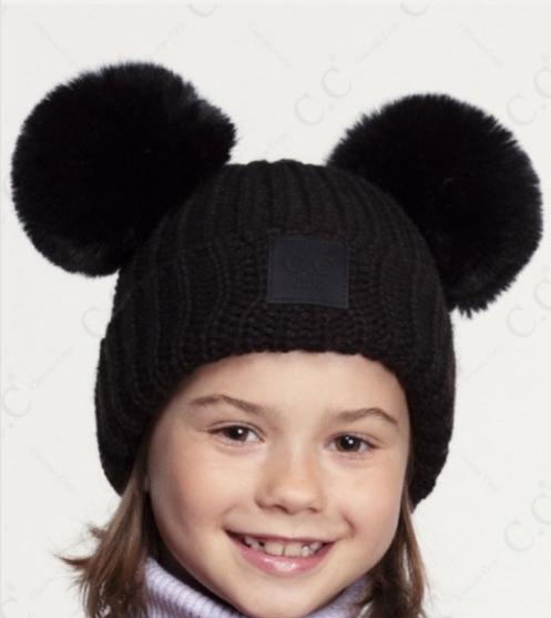 Kids Double Pom ~ black