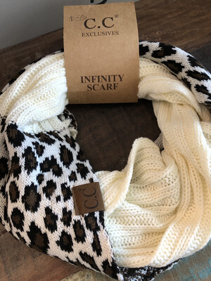 Leopard Cowl Scarf ~ ivory