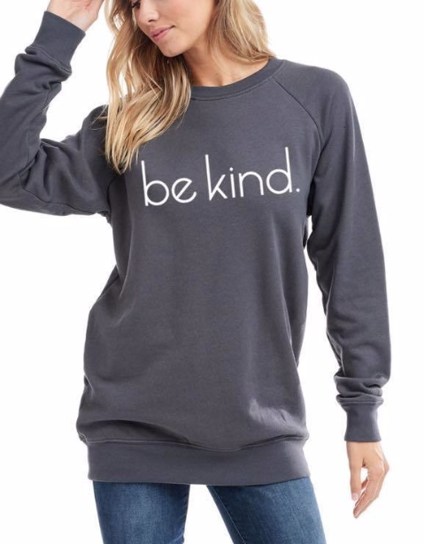 Be kind Sweater ~ Charcoal