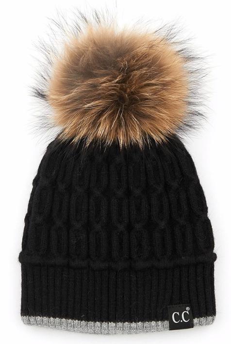 Cable knit Fur Pom Beanie ~ black