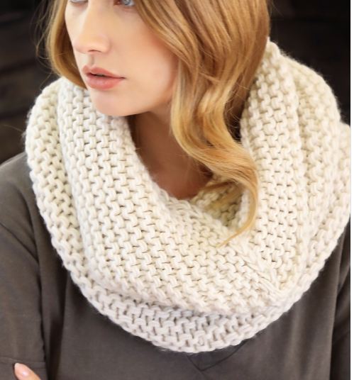 Chunky Knit Cowl Scarf ~ Ivory