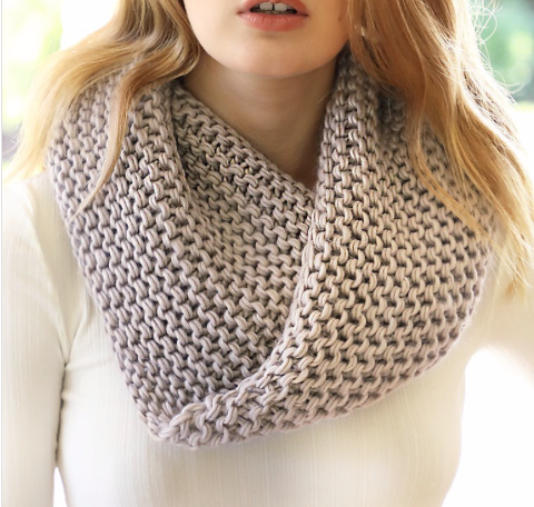 Chunky Knit Cowl Scarf ~ taupe