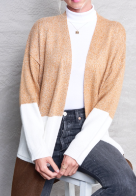 Colour Block Cardi ~ taupe mix