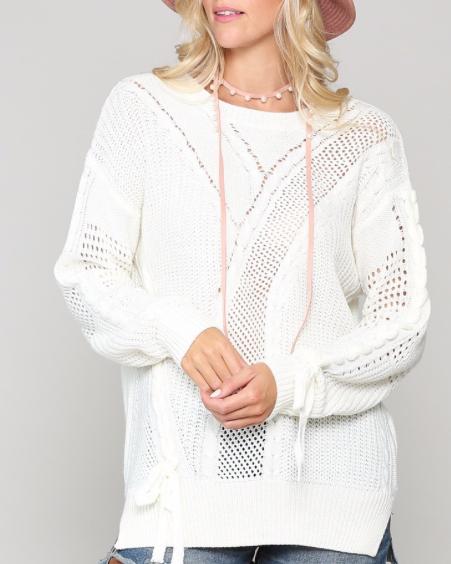 Pointelle Stitch Sweater ~ ivory