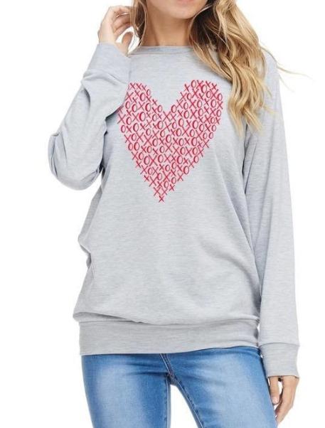 Xo Heart ~ light grey