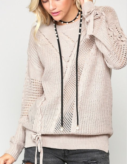 Pointelle Stitch Sweater ~ taupe