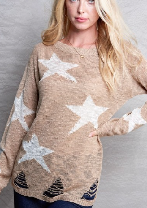 Distressed Star ~ taupe