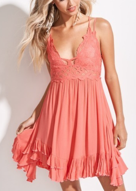 Breeze Slip Dress ~ coral