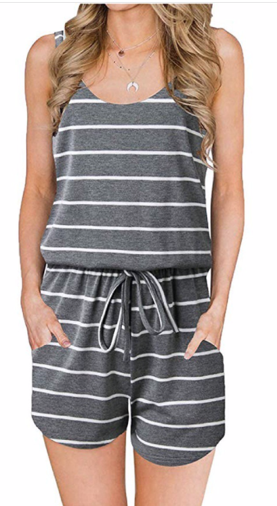 Summer Stripes Romper ~ Grey