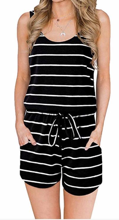 Summer Stripes Romper ~ black