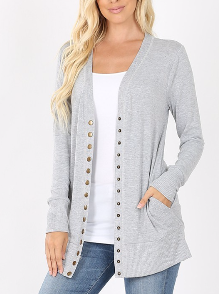 Button Me up ~ heather grey