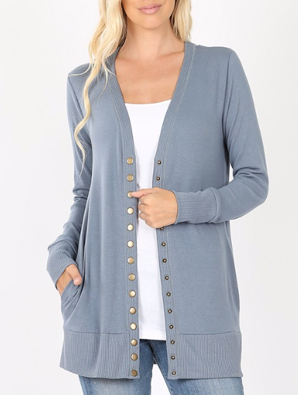 Button Me up ~ smokey blue