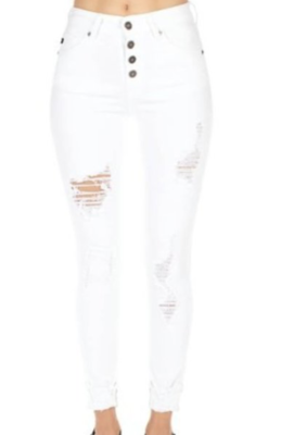 Distressed White  |  Ankle Skinny
