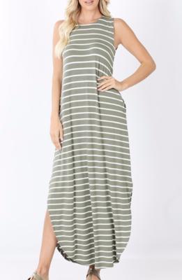 Casual Stripes Maxi ~ light olive