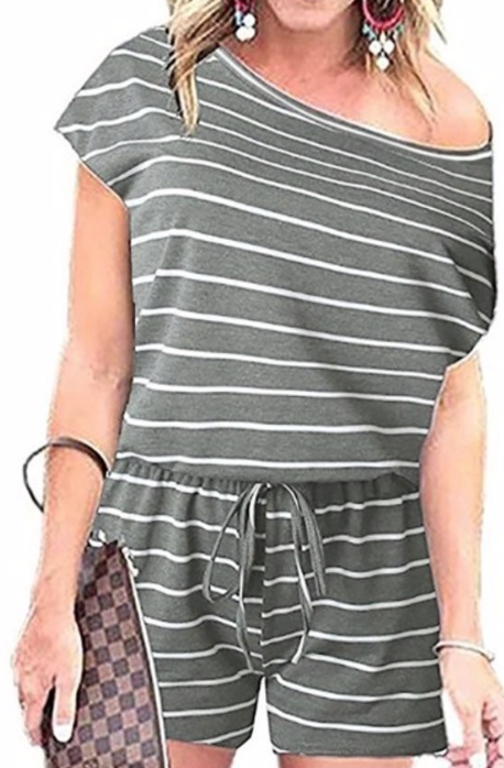 Casual Stripes Romper ~ grey