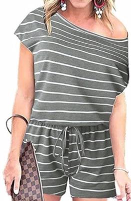 Casual Stripes Romper ~ grey