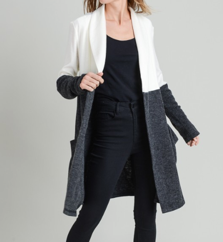 Colour Block Cardi ~ Ivory/Charcoal