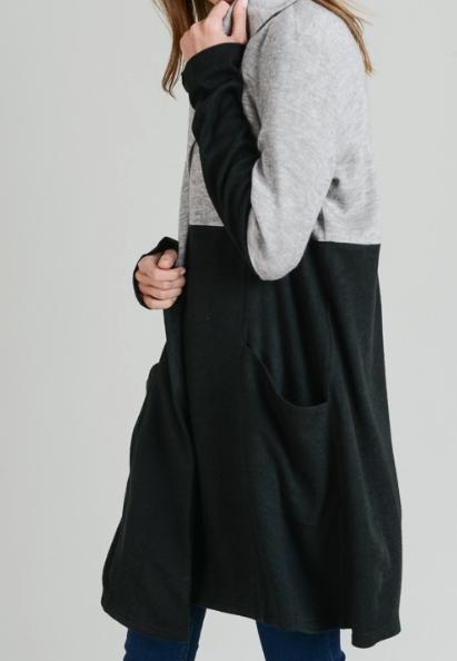 Colour Block Cardi ~ Grey/Black
