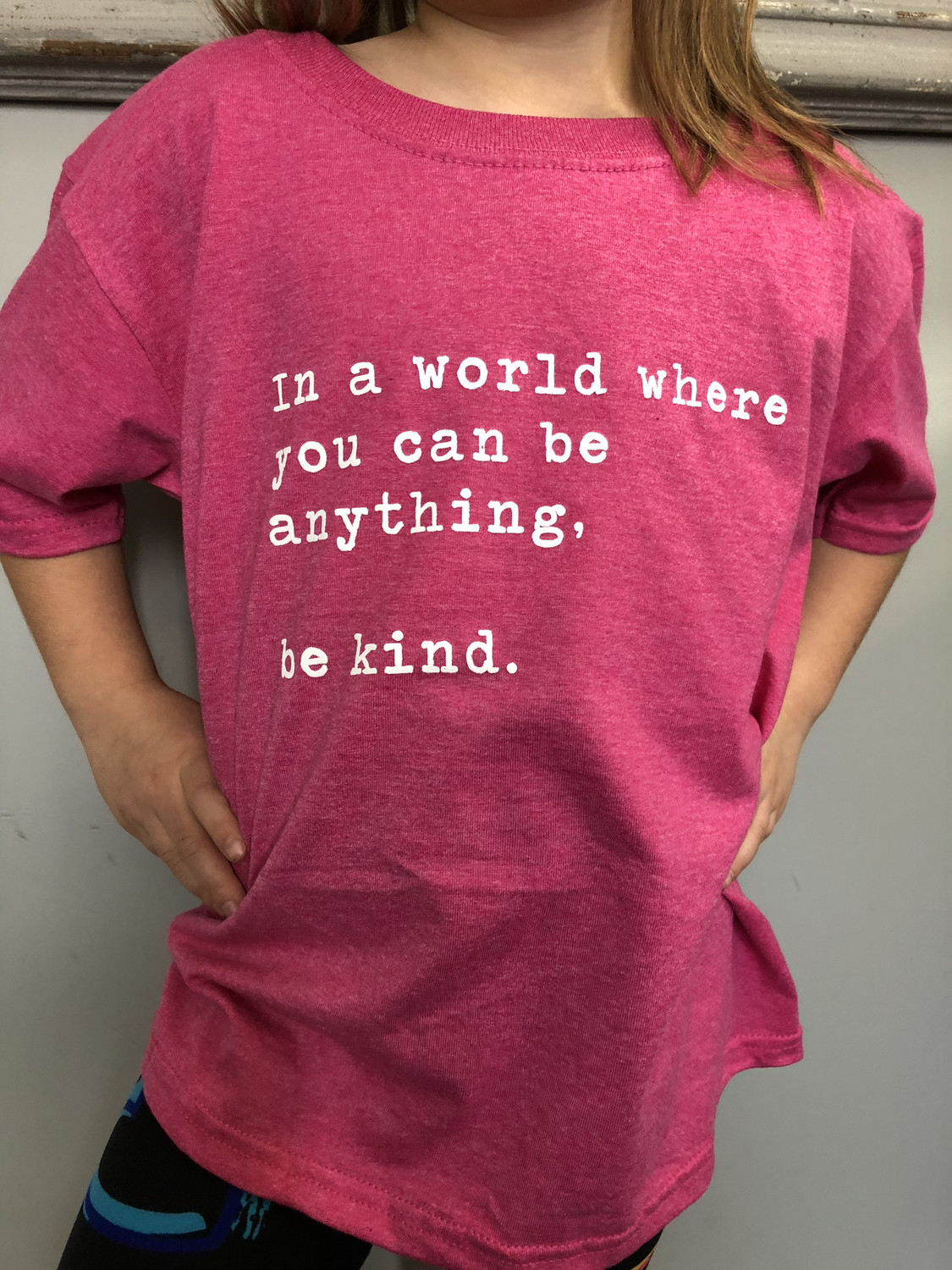 """KIDS"" BE KIND ~ Pink shirt / Antibully day COLLECTION ~ Heather Raspberry Pink"