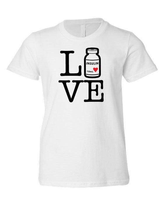 """Youth Unisex,  """"Love/Live Insulin bottle"""",  White T-Shirt"""