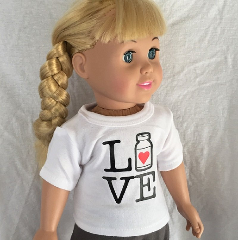 "18"" Doll, ""Love/Live Insulin bottle"",  White T-Shirt"
