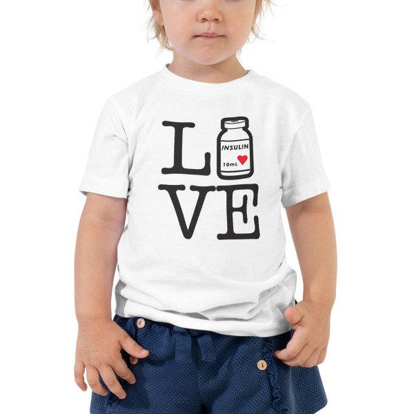 """Toddler Short Sleeve, """"Love/Live Insulin bottle"""", White"""