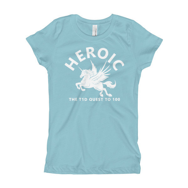 "Youth Girl ""Pegasus Unicorn"" T-Shirt, blue or gray"