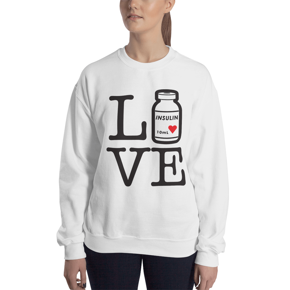 "Woman's Sweatshirt, ""Love/Live Insulin bottle"",  White"