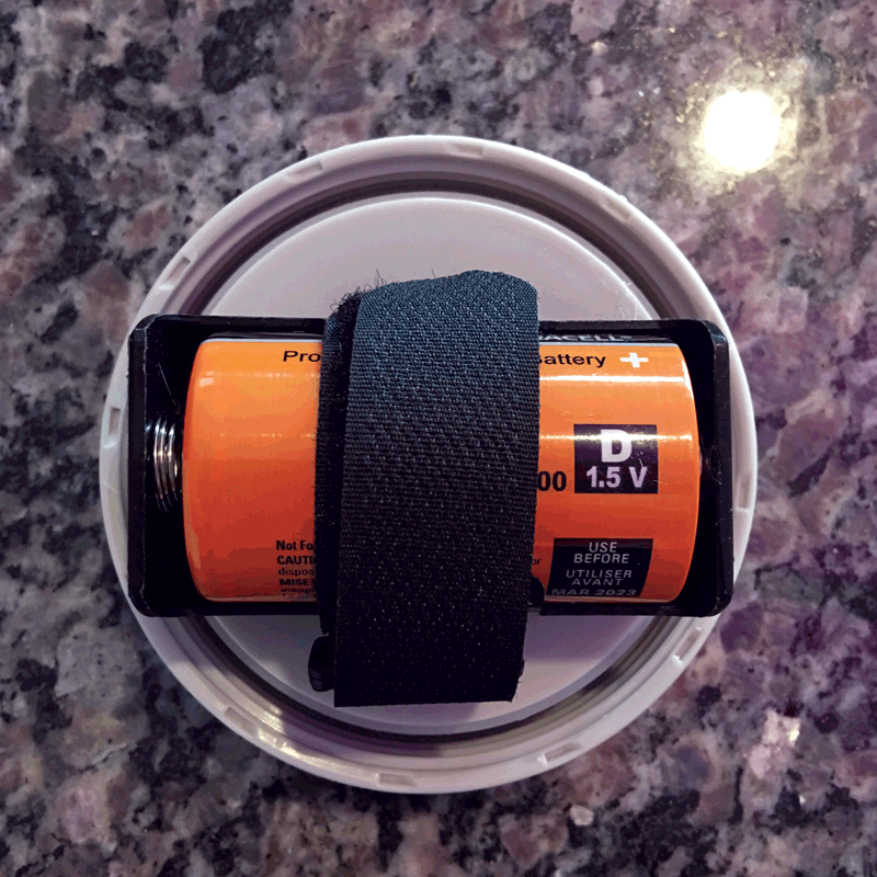 Bottom of Lid - D sized alkaline battery