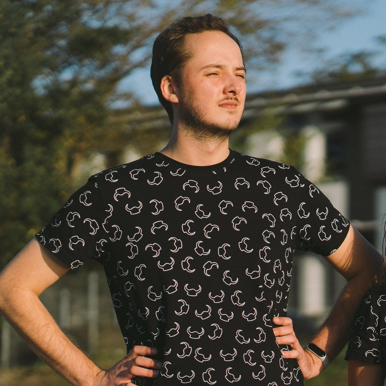 "T-Shirt ""Pattern"" czarny męski"